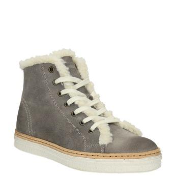 Knöchelhohe Leder-Sneakers mit Kunstpelz weinbrenner, Grau, 596-2627 - 13