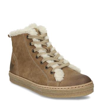 Knöchelhohe Leder-Sneakers mit Kunstpelz weinbrenner, Braun, 596-8627 - 13