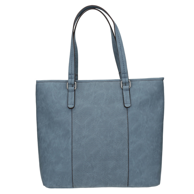Blaue Handtasche mit perforiertem Detail bata, Blau, 961-9711 - 26