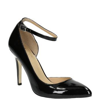 Schwarze Lederpumps mit Knöchelriemchen insolia, Schwarz, 728-6640 - 13