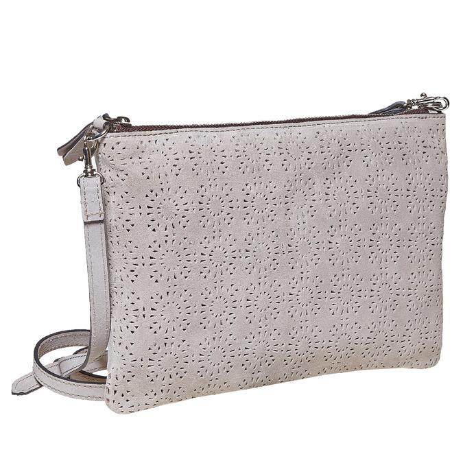 Crossbody-Handtasche aus Leder bata, Grau, 963-2135 - 13