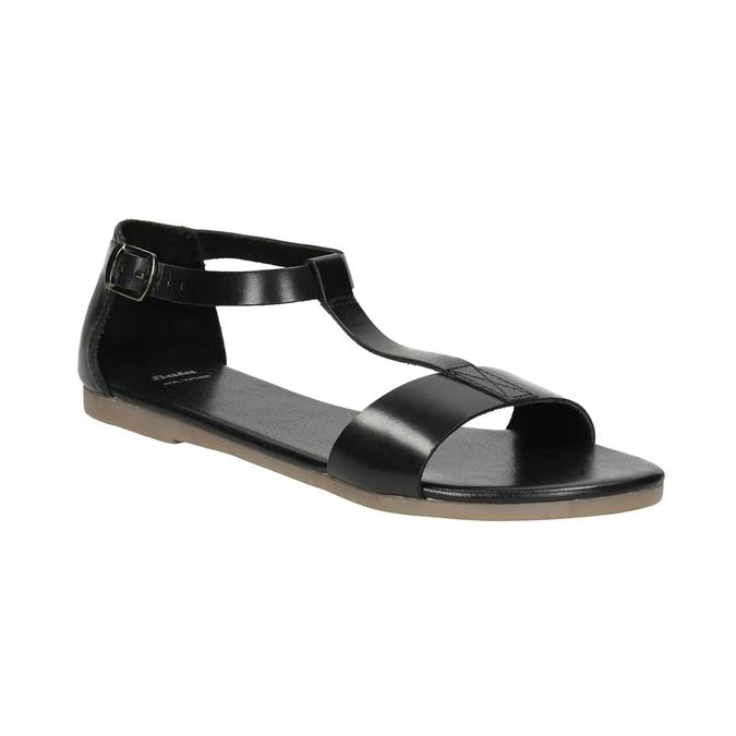Schwarze Sandalen aus Leder bata, Schwarz, 564-6600 - 13