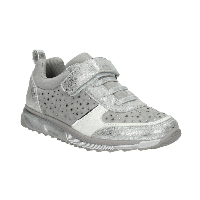 Silberne Mädchen-Sneakers mit Steinchen mini-b, Grau, 329-2295 - 13
