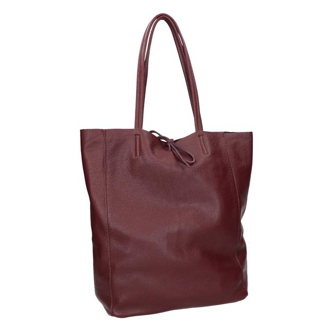 Weinrote Shopper-Handtasche aus Leder bata, Rot, 964-5522 - 13
