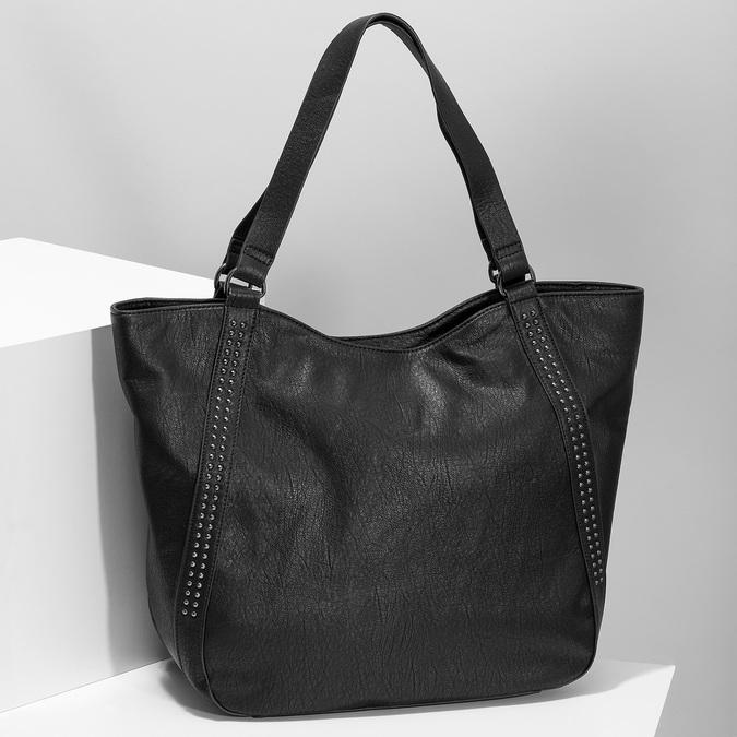 Schwarze Handtasche mit Zwecken bata, Schwarz, 961-6787 - 17