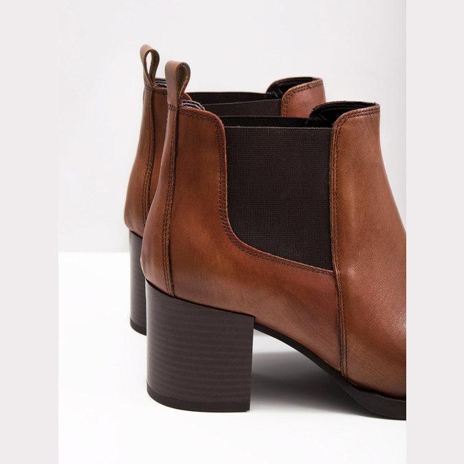 Damen-Knöchelschuhe aus Leder mit Absatz bata, Braun, 694-4641 - 18