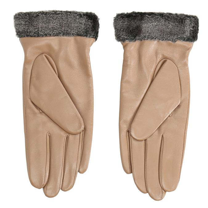 Beigefarbene Damenhandschuhe aus Leder bata, Beige, 904-4112 - 16