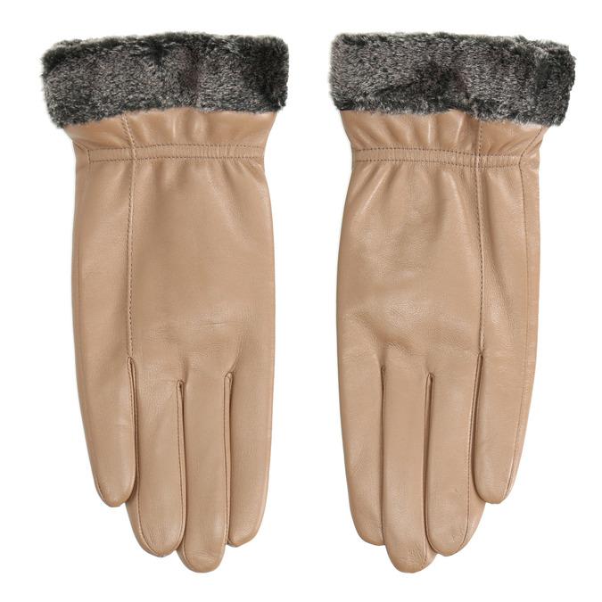 Beigefarbene Damenhandschuhe aus Leder bata, Beige, 904-4112 - 26