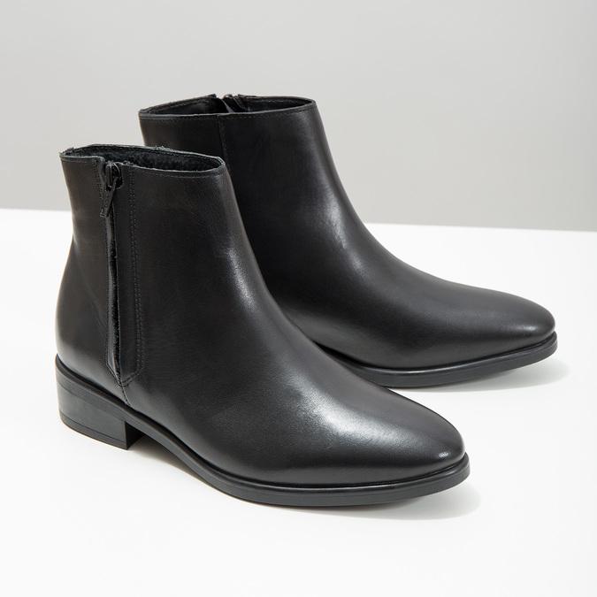Schwarze Knöchelschuhe aus Leder mit Reissverschluss bata, Schwarz, 594-6518 - 18