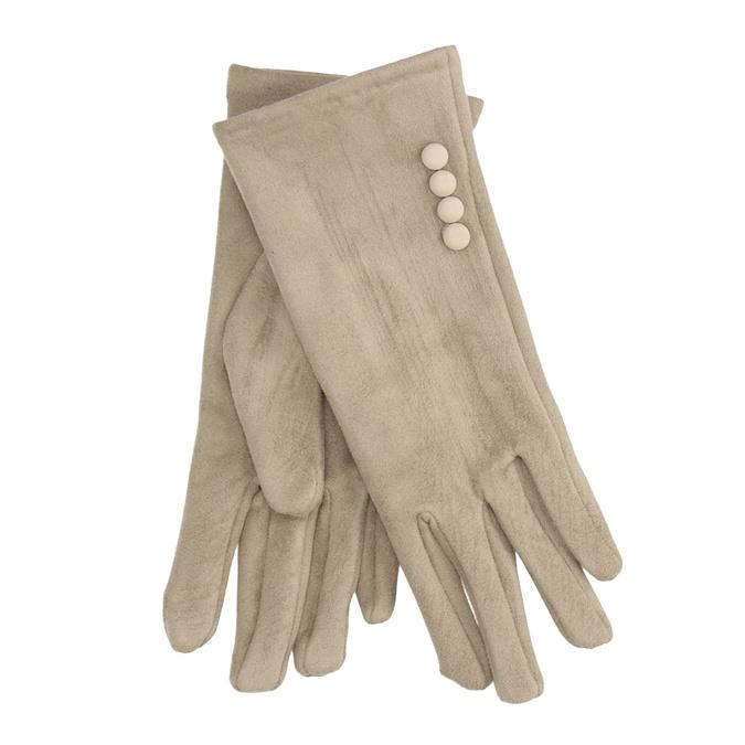 Damen-Stoffhandschuhe mit Knöpfen bata, Beige, 909-8612 - 13