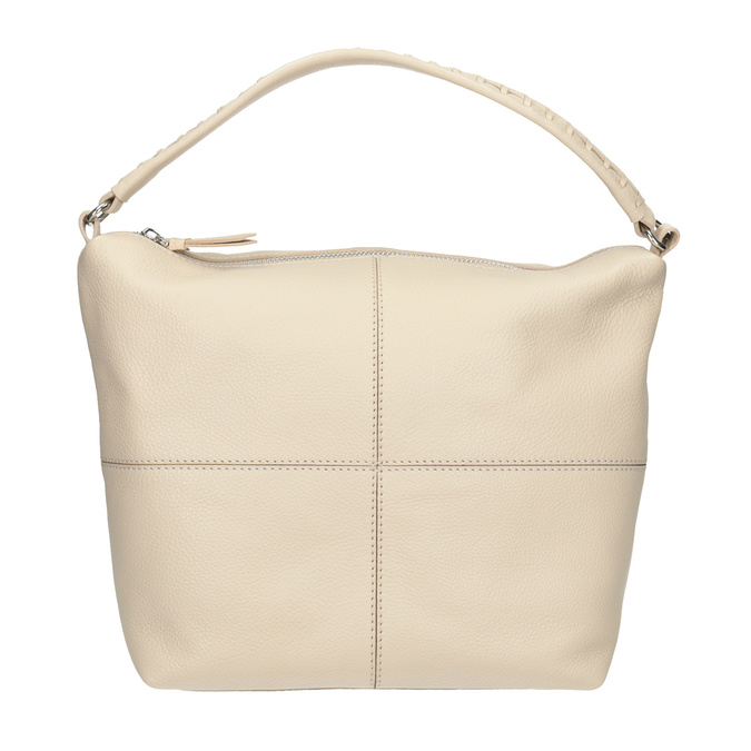 Cremefarbene Hobo-Handtasche aus Leder bata, Beige, 964-8290 - 26
